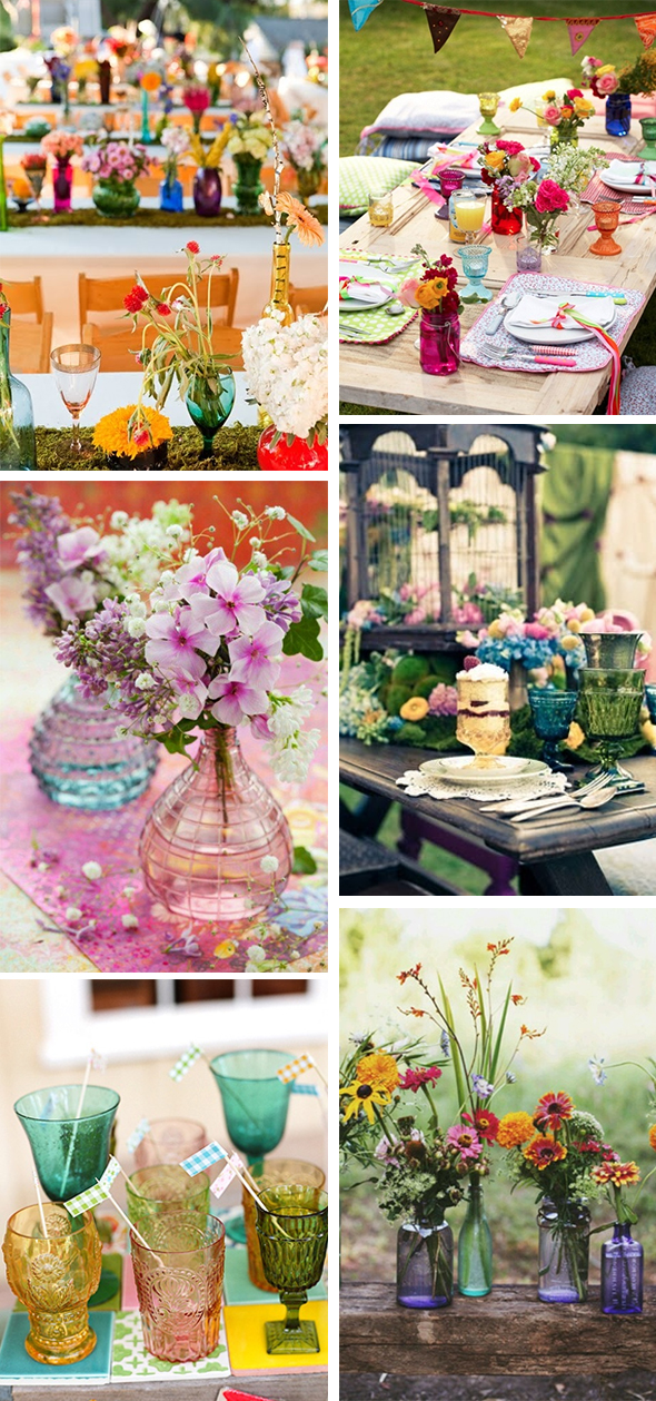 colored glass wedding tables