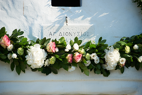 greek wedding flowers Traditional Destination Wedding in Greece
