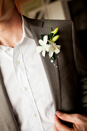 grooms tropical wedding flowers Costa Rica Destination Wedding by A Brit and A Blonde