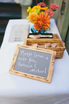 guest book sign in A Golden Gate Park, San Francisco Wedding