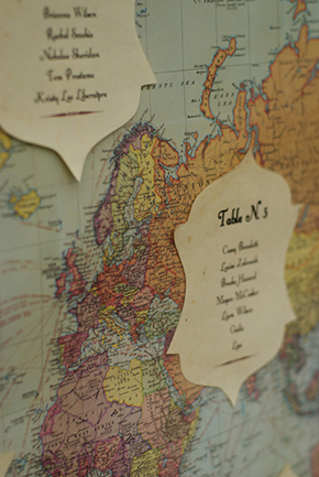 map place cards A Vintage Inspired Destination Wedding in Italy
