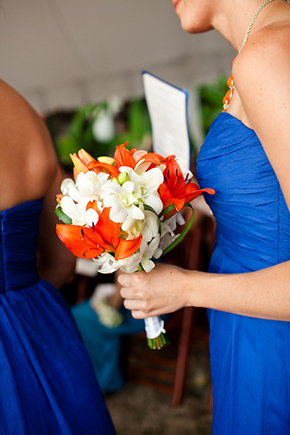 orange and white bouquet Costa Rica Destination Wedding by A Brit and A Blonde