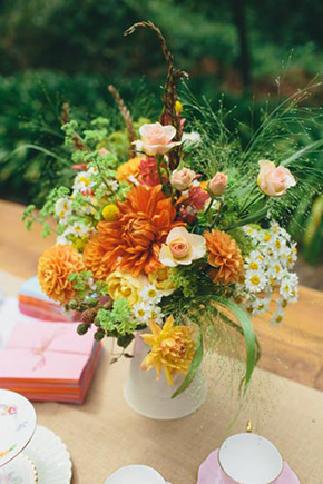 orange wedding flowers A Golden Gate Park, San Francisco Wedding