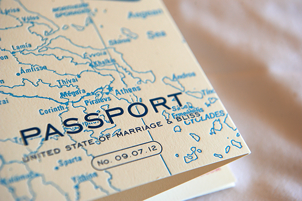 passport invitation Traditional Destination Wedding in Greece