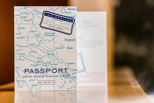 passport wedding invitations Traditional Destination Wedding in Greece