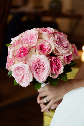 pink bridal bouquet Traditional Destination Wedding in Greece