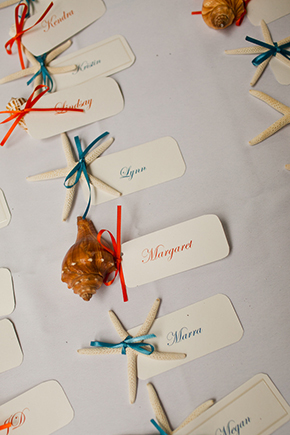shell place cards Costa Rica Destination Wedding by A Brit and A Blonde