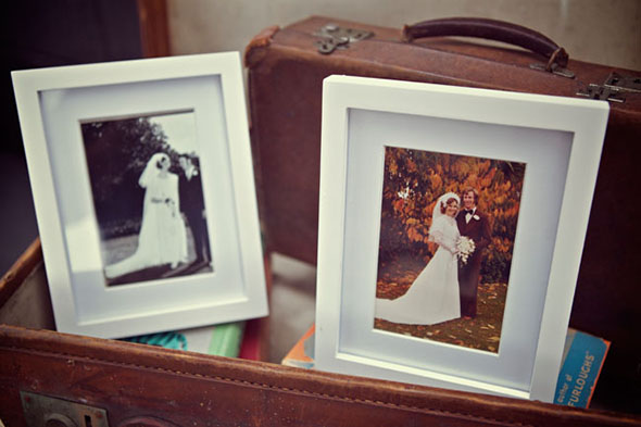 vintage wedding photo display