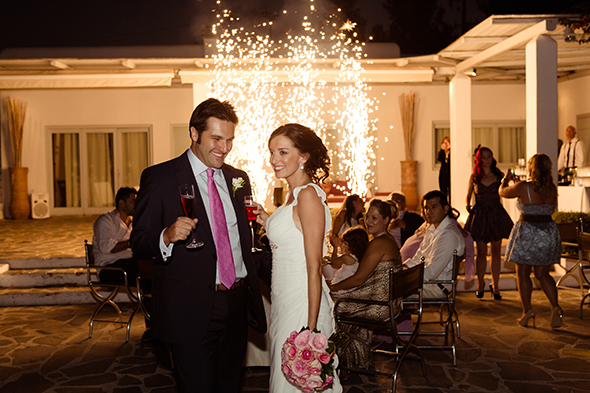 wedding fireworks Traditional Destination Wedding in Greece