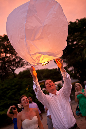 wedding lantern release Costa Rica Destination Wedding by A Brit and A Blonde