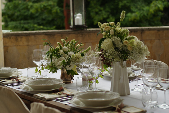 white wedding tables A Vintage Inspired Destination Wedding in Italy