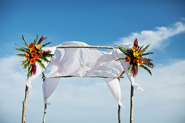 beach wedding arch A Cabo, Mexico Destination Wedding by the Beach