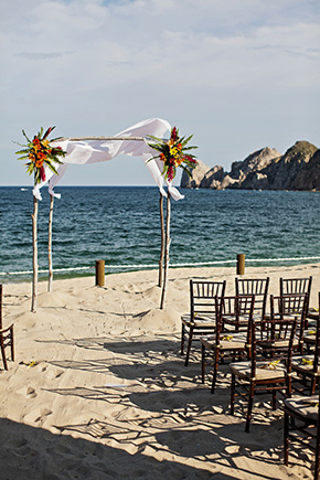 beach wedding ceremony A Cabo, Mexico Destination Wedding by the Beach