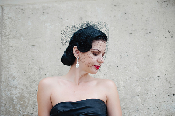 black birdcage veil Paris Wedding Vow Renewal