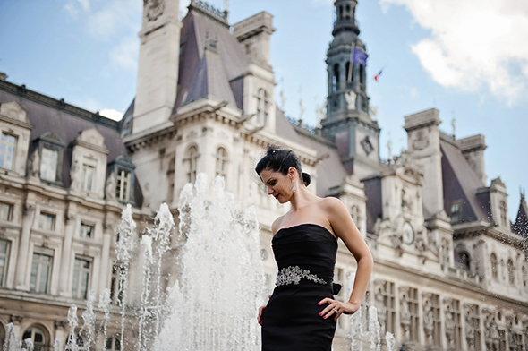 black bridal gowns Paris Wedding Vow Renewal