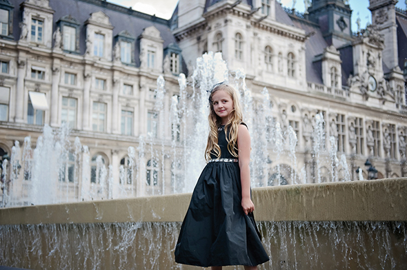 black flower girl dresses Paris Wedding Vow Renewal