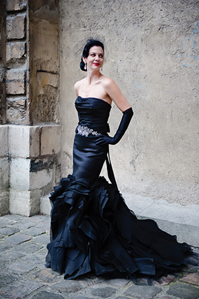 black wedding dress Paris Wedding Vow Renewal