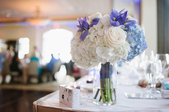 blue and white wedding flowers Travel Themed Destination Wedding in Maine