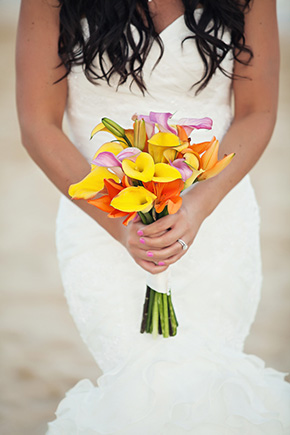 calla lily bouquet A Cabo, Mexico Destination Wedding by the Beach