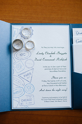 destination wedding invitations1 Travel Themed Destination Wedding in Maine
