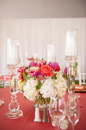 fuschia and orange wedding