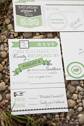 green and white wedding invitations A Rustic Destination Wedding in Nashville, TN