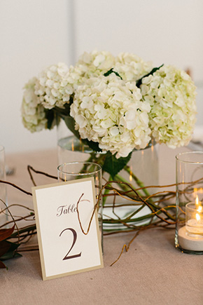 hydrangea centerpiece A Modern Rosemary Beach, Florida Destination Wedding