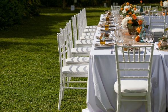 orange and white wedding