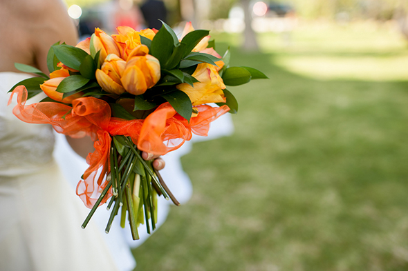 orange bridal bouquet A Colorful Destination Wedding in Malaga, Spain