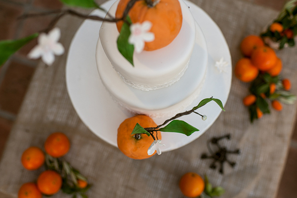 orange wedding cake A Colorful Destination Wedding in Malaga, Spain