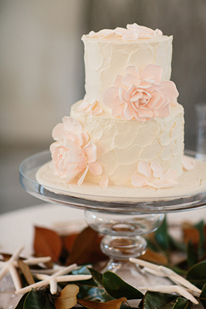 pink and white wedding cake A Modern Rosemary Beach, Florida Destination Wedding