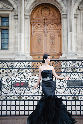 vera wang black wedding dress Paris Wedding Vow Renewal