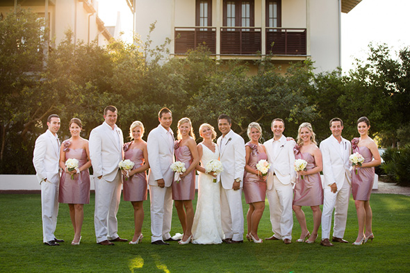 white groomsmen suits A Modern Rosemary Beach, Florida Destination Wedding