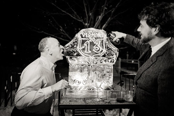 winter wedding ice sculpture A White Wedding in Vermont