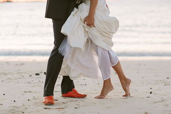 barefoot beach wedding A Brightly Colored Beach Wedding in the Bahamas