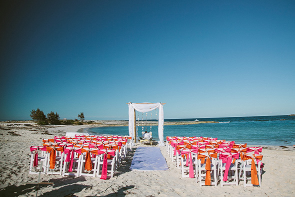 beach wedding1 A Brightly Colored Beach Wedding in the Bahamas