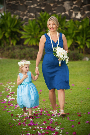 blue bridesmaid dresses Destination Wedding in Kona, Hawaii