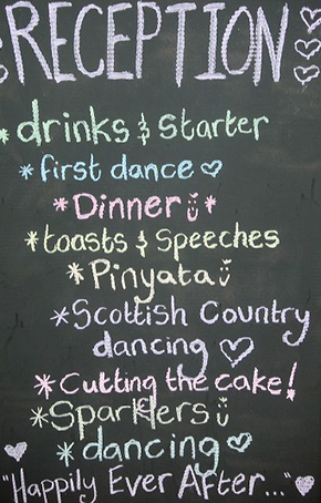 chalkboard menu Destination Wedding in Kona, Hawaii