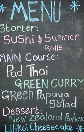 chalkboard menus Destination Wedding in Kona, Hawaii