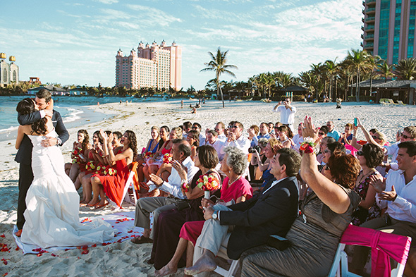 destination wedding location A Brightly Colored Beach Wedding in the Bahamas