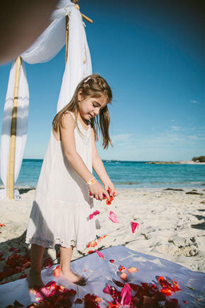 fuschia and orange weddings A Brightly Colored Beach Wedding in the Bahamas