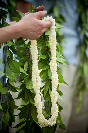 lei wedding flowers Destination Wedding in Kona, Hawaii