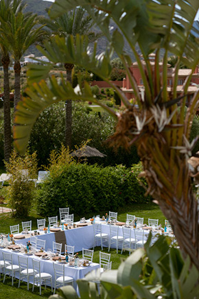 long wedding tables A Colorful Destination Wedding in Malaga, Spain