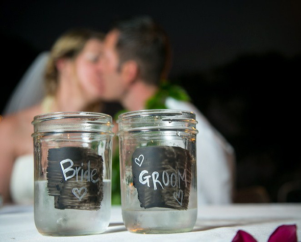mason jar wedding ideas Destination Wedding in Kona, Hawaii