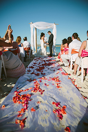 orange and fuschia weddings A Brightly Colored Beach Wedding in the Bahamas