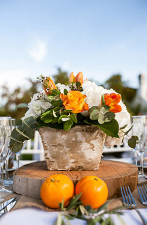 orange and white weddings