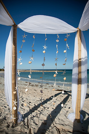 shell weddings A Brightly Colored Beach Wedding in the Bahamas