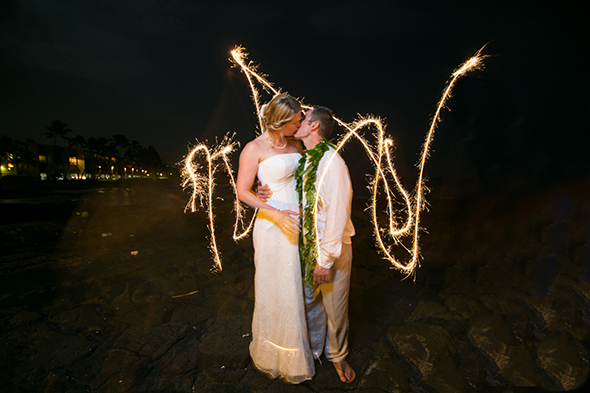 wedding sparklers Destination Wedding in Kona, Hawaii