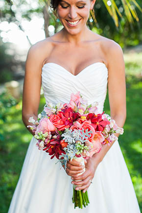 bright bridal bouquet A Rustic Beach Wedding in Tamarindo, Costa Rica