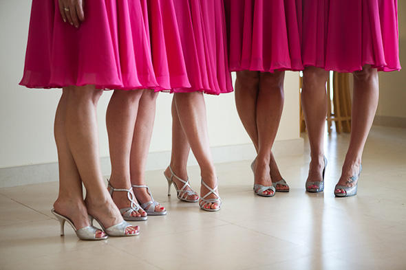 bright pink bridesmaid dresses Beach Wedding in Cancun, Mexico